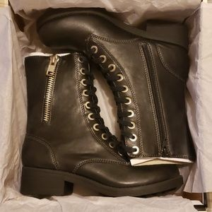 NIB MIA Frederica Black LaceUp Womens Combat Boots